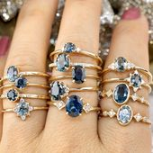 Non-traditional sapphire engagement ring made of recycled gold by Envero Jewelry