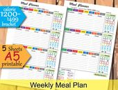 Weekly Meal Planner,  1200 Calories Tracker, Weekly Food Journal a5 planner inserts, food track printable, easy meal plan- Instant Download