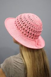 Crochet sun hat womens Summer hat women Wide brim hat pink Cotton beach hat – chapeu de croché
