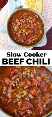 Easy Slow Cooker Beef Chili recipe: full of flavor but not too spicy. The best b…