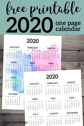Calendar 2020 Printable One Page – Paper Trail Design