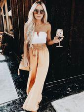 Übergroße Sonnenbrille für Frauen – weißes Oberteil, weite Hosen, Sonnenbrillen, Nachte