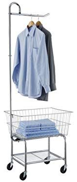 Organize It All Rolling Chrome Commercial Laundry Butler With