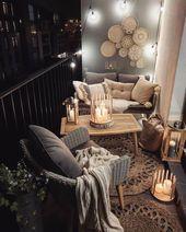 """Bohemian Interior Decor auf Instagram: """"Via @ chilledhome Kerzenlicht kann einen Balkon … – Boho Balkon"""