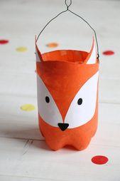 Upcycling-Idee: Fuchs-Laterne aus PET Flasche basteln