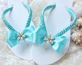 Aqua blue bridal flip flops. Poolside, dancing shoes, cruise wedding slippers bride sandals. Something to remember