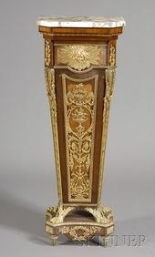 Louis XVI Style Gilt-bronze Mounted Tulipwood and Mahogany Pedestal