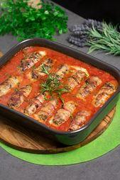 Rollitos de carne en salsa de tomate   – Hackfleisch Gerichte