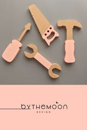 Wooden Toy Tool Set In Blush Pink – #Blush #pink #Set #tool #Toy #Wooden