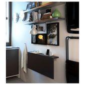 BJURSTA Wall-mounted drop-leaf table – brown-black – IKEA