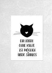 Ein Leben ohne Katze…Kunsdruck – Digitaldruck – Drucke – Mit Liebe handgemacht in München, Deutschland von Haus Nr. 26 | Mit viel Liebe gestalteter…