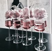 cotton candy topped pink champagne #champagne #cottoncandy #pink #party #present…