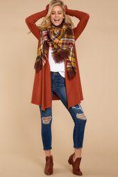 Darling Orange Flowy Cardigan - Trendy Long Cardi - Cardigan - $36.00 – Red Dr...