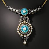 French Antique Turquoise Pearl and Diamond Necklace