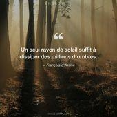 """François d'Assise """"Un seul rayon de soleil suffit à dissiper des tens of millions …"""