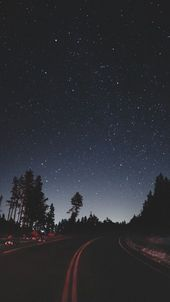 Night Stars Road Side Camping iPhone Hintergrundbild