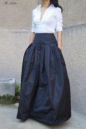 Lovely Black Long Maxi Skirt/High or Low Waist Skirt/Long Waistband Skirt/Handmade Skirt/Low Waisted Black Skirt/Formal Skirt/Skirt/F1190