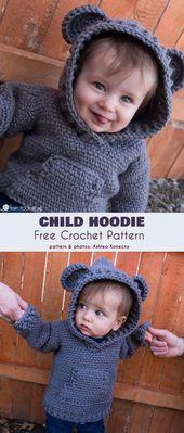 Kinder Hoodie kostenlose Häkelanleitung   – Stricken