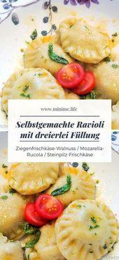 Selbstgemachte Ravioli mit dreierlei Füllung – Mittagessen