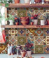 Mexican Terracotta Tile/Wall/Stair Stickers, Removable Decal for Kitchen /Bathroom/ Door/ Floor/ Fridge/ Floor : Pack of 44