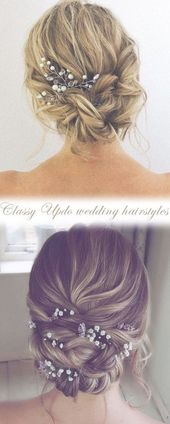 42 Gorgeous Wedding Hairstyles---elegant updo hairstyle with gorgeous headpices, wedding hairstyles for long hair