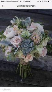 Bouquet de mariée blush et silver ou centre de table floral. Choix élégant pour un rus …