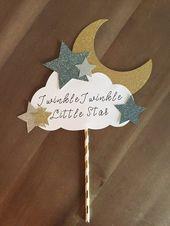 Baby Showers Twinkle Twinkle Little Star Cake Topper Blue Baby Shower Decor   Etsy      Minus buena...