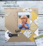DIY Cuadernos Pick a Pattern scrapbook page using Pieces & Patterns and Sunshine Wishes thinli...