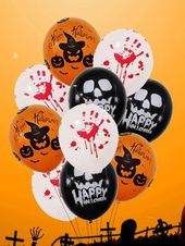 Halloween Decorations 50 Pcs 12 Inch Skull Pumpkin and Blood Hand Print Balloons