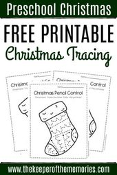 Free Printable Stocking Pencil Control Christmas Preschool Worksheets