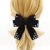 Pearl ball embellished bow french barrette clip elastic band accessory for women