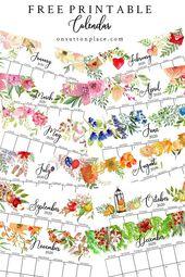 Free Floral 2020 Printable Calendar