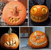 Beautiful Jack-o-Lanterns And Halloween Centerpieces