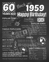 60th U.K. Themed Birthday Chalkboard Poster, Born in 1959, 60th Birthday Board English Version, Instant Download Printable Digital Files