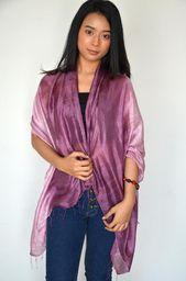 Thai handmade Top Quality Pure Silk Scarf Women Handmade Thai Raw Silk Scarf 2 Tone Lightweight Sunscreen Shawl Wr