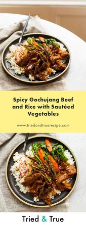 Spicy Gochujang Beef and Rice with Sautéed Vegetables – Pinterest!