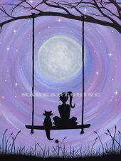 Ein Mädchen und ihre Katze (PRINT)   – Träumerei