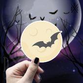 Moon And Bat Vinyl Sticker, Halloween Stickers, Moon stickers, Decal, Macbook Decal, Stickers Macboo