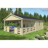 Photo of 450 cm x 720 cm Garden House Samir Garden Living Foundation: With foundation, Floor: With floor – 27 mm, Roof: Hexagonal Red