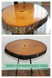 DIY Resin Wood Slice Tisch