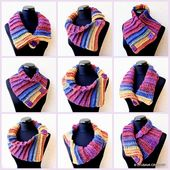 Häkeln Sie Schal Muster, Multicolor Schal zwei Knöpfe, DIY Schal, klobige Schal, Nackenwärmer, Instant Download PDF Muster # 10 Lyubava häkeln