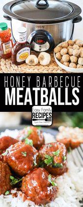 Children ABSOLUTE FAVORITE! These Honey BBQ Meatballs are a brilliant simple crockpot dinn…