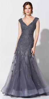 Magbridal Elegant Tüll mit V-Ausschnitt In voller Länge Mermaid Mutter der Braut Kleider mit Perlen Spitze Appliques & Federn