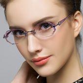 Diamond glasses luxury diamond rimless titanium glasses frame myopia glasses Wom… – Clothing