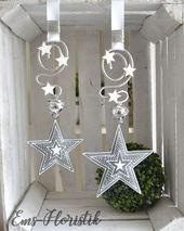 Fensterdeko Stern Metall grau-weiß 15,5 cm Landha…