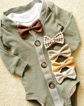 Cardigan vert et gris ADORABLE Body avec votre choix de noeud papillon trop mignon de pass.perfect pour votre petit gentleman – Baby Clothes