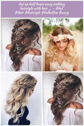 haf up half down wavy wedding hairstyle with hair ... - #haf #Hair #hairstyle #halboffen #wavy - -