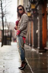 50 World of jeans cute winter outfits ideas