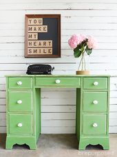 Green Vintage Desk Makeover