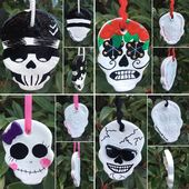 Salt Dough Halloween Skull Hanging Ornament Day of the Dead Rockabilly Kitch Night Before Christmas Unique Handmade Handpainted